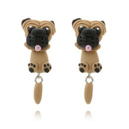 Wholesale Clay Girl - Cute Haibi Dog Design Hanging Earrings Handmade Polymer Clay Piercing Hippie Drop Earring For Women Girls Party Jewelry Bijoux