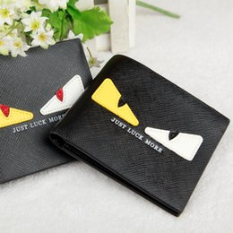Wholesale Pu Leather Clutch Purse - HOT Little Monster Man Women's Wallet Mini Eyes Purses Female PU Leather Daily Clutches PU Wallets Free Shipping
