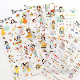 Wholesale Korean Diary Stickers - Wholesale- 6 Sheets Heeda Girls PVC Sticker Korean Style Cute Kawaii Planner Stickers for Notebook Diary Deoration