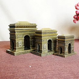 Wholesale Famous Art Drawings - Vintage art crafts 3D Mini Paris Arc de Triomphe model world famous building status 1 set 3 sizes included home decorations art gifts