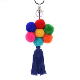 Wholesale Tassel For Hair - New Design Handmade Flower Tassels Key Rings for Women Bohe Ethnic Car Bag Pendant Girls Gift Hair Ball key Chain Fashion Jewelry Wholesale