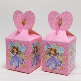Wholesale Wholesale Favor Boxes Princess - Wholesale- Sofia Princess Baby Shower Souvenirs Present Candy Favor Box Sophia Kids Girls Birthday Party Decorations 8Pcs