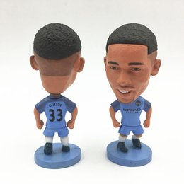 Wholesale Toy Football Player Figures - Soccerwe 2017 Season Premier League City Club Player Aguero Jesus Football Dolls 6.5 cm Height blue for Collections Mini Toy