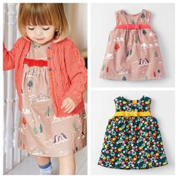 Wholesale Straight Skirts Knee Length - 2017 Fashion Autumn baby girls vase dress kids girls carton elastic force corduroy skirt baby cute sleeveless bowknot dress