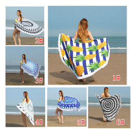 Wholesale United Fiber - Hot 16 color Europe and the United States romantic Su Sha sand towel round ultra - fine fiber active printing beach towel U002