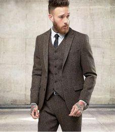 Wholesale Modern Jacket Men - 2017 New Custom Made Tweed Suits Men Formal Skinny Wedding Tuxedo Gentle Modern Blazer 3 Piece Men Suits(Jacket+Pants+Vest