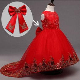Wholesale Girls Lace Mesh Dress - Flower Girl Bridesmaid Dress Children Red Mesh Trailing Butterfly Girls Wedding Dress Kids Ball Gown Embroidered Bow Party Dress