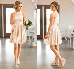 Wholesale beads for waist - 2017 New Country Short Bridesmaid Dresses For Weddings Jewel Neck Full Lace Blush Pink Peals Plus Size Empire Waist Maid of Honor Gowns