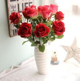 Wholesale Single Artificial Red Rose - wholesale 75cm single wedding rose flower silk flowers artificial decorative flowers for home wedding market decoration