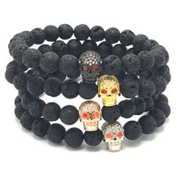 Wholesale Bead Setting Diamonds - 8mm Lava Stone Red Eyes Diamond Skull Bracelet Reiki Healing Balancing Round Beads Bracelet Unisex Gothic Bracelet B365S