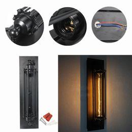 Assiette rustique en Ligne-T300 Industrielle Rustique Longue Applique Murale Noire Lampe Lampe Rétro Vintage Éclairage Plaque Murale Noire LEG_403