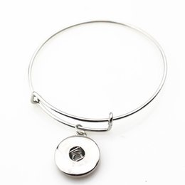 Wholesale Expandable Bangle Bracelets - Wholesale 10pcs lot metal silver ginger snap adjustable expandable bangle bracelets for 18mm snap buttons jewelry