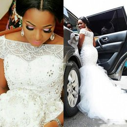Wholesale Tiered Tulle - 2018 Plus Size Arabic Nigerian Wedding Dresses Beading Tiered Short Sleeves Long Chapel Train Tulle Mermaid Wedding Bridal Gowns