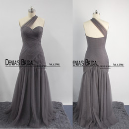 Wholesale One Shoulder Bridesmaid Dresses Tulle - 2016 New Style Real Images Bridesmaids Dresses One Shoulder Tulle with Sweetheart Floor Length Girls Formal Dresses 450088 Dhyz 01