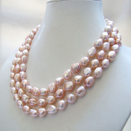 Wholesale Natural Pink Pearl Necklace - 3 strands genuine natural pink baroque freshwater pearl necklace 10-11mm