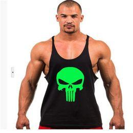 Wholesale Racer Back Vest Wholesale Men - Wholesale- Men The Punisher Bodybuilding Stringer Tank Top Men Singlet Fitness Sleeveless Workout Vest Cotton Y BACK Racer