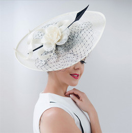 Wholesale sinamay hat black - 2017 New Elegant Linen Bridal Hat Sombrero For Women Church Wedding Party Hat Outdoor Chapeu Cappelli Retro British Large Brimmed Hat Mingli