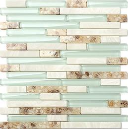 Wholesale Glass Stone Tile Backsplash - 2018 NEW!!Light green glass mix stone&shell tiles, Modern style Kitchen Backsplash tiles  Bathroom home wall decoration mosaic tiles,LSBK51