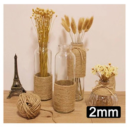 Wholesale Pictures Decorations Stocking - 50m lot Natural Jute Twine String DIY Home Decoration Hemp Rope Hanging Pictures Wedding Gift Wrapping Cords Party Decor
