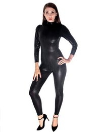 Traje negro atractivo de la cremallera online-Venta caliente de Las Mujeres Negro / Oro / Plata Body de Manga Larga Fetish Tight Jumpsuit Zipper Back Bodycon Catsuit Sexy Night Clubwear
