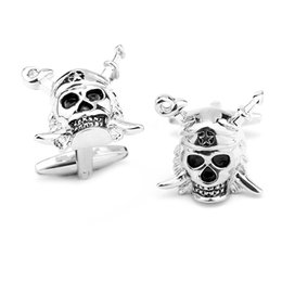 Wholesale Wholesale Pirate Caribbean Party - Freeshipping 20 Pairs Free Shipping Personality Pirates Of The Caribbean Skull Cufflinks New Design Cufflinks Brand For Party