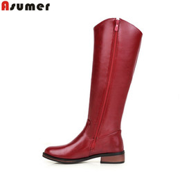Wholesale Knee High Boots Zipper - Wholesale-2016 new plus size 32-43 fashion round toe low heels mid high boots shoes zipper black red purple women winter boots