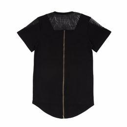 Camiseta Extend T-Shirt Hip Hop Camiseta Long Back Gold Zipper Swag Camiseta Algodón Homme Skateboard Tyga Tshirt Black White Extend T-Shirt desde fabricantes