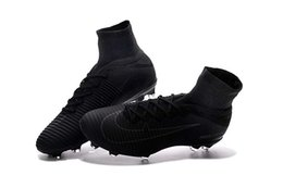 Wholesale Mercurial Soccer Cleats - 2018 Full Black Soccer Cleats 100% Original Mercurial Superfly V FG Soccer Shoes Top Quality Magista Obra ACC Mens Football Boots