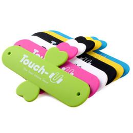 Support de téléphone touche u en Ligne-2017Universal Portable tactile U silicone Support Supports de téléphone portable Support pour iPhone Samsung HTC Sony Téléphones Tablets