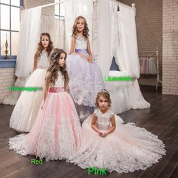 Wholesale Embroidery Applique Children - 2017 NEW Girls Ball Gown Lace Pageant Dresses for Girls Glitz Holy Communion Dresses Bow Graduation Gowns Children