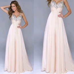 Wholesale Spaghetti V Neck Homecoming Dress - New Fashion Hot Sale Ruffle Dresses Evening WearSexy Deep V-Neck Sleeveless Apricot Beaded Pleats Long Formal Prom Dress Cocktail Party Gown