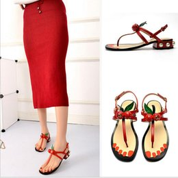 Wholesale Gladiator Style Heels - New Genuine Leather Women Sandals Fashion cherry Summer Sandals low heels zapatos mujer chaussure femme woman Roman style shoes