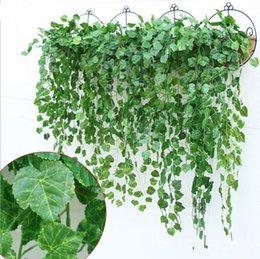 Wholesale Home Girls Party New - 12PCS Green Artificial Fake Hanging Vine Plant Leaves Foliage Flower Garland Home Garden wedding Wall Hanging Decoration IVY Vine Supplies