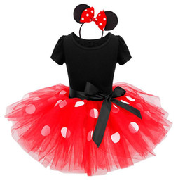 Wholesale Minnie Mouse Costume Ears - Kids Baby Girls Minnie Mouse Tutu Dress with Ear Headband Carnival Party Fancy Costume Ballet Stage Performance Dance wear