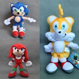 "Wholesale Tails Doll - EMS New 3 Styles 8"" 20CM Sonic The Hedgehog Doll Sonic Knuckles Tails The Echidna Plush Dolls Kid's Gifts Stuffed Soft Toys"