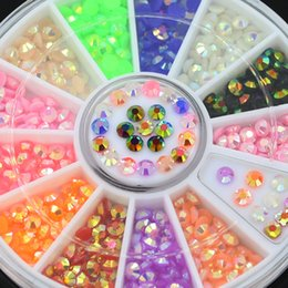 Wholesale Nail Decal Wheel - Wholesale- 2016 Colorful 3D Fluorescent Acrylic Glitters Nail Art Salon Stickers Tips DIY Decal Decorations with Wheel 5VZM 7H3H 8LBN