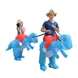 Wholesale Inflatable Carnival - Adult Kid KOOY Factory Outlet Inflatable ride on dinosaur costume Halloween cosplay Carnival Christmas costumes Color Blue