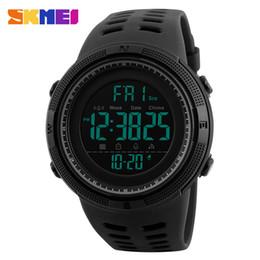 Wholesale Skmei Waterproof - SKMEI Men Sports Watches Countdown Double Time Watch Alarm Chrono Digital Wristwatches 50M Waterproof Relogio Masculino 1251