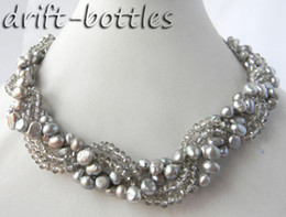 Wholesale 7mm Rope Chain - 4Strands 18'' 7MM Gray baroque Freshwater Pearl Faceted Crystal Necklace