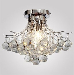Wholesale Stainless Steel Hanging Ceiling - Crystal Ceiling Light Hanging Light Crystal Chandelier Lamps Pendent Lights Chrome Finish Chandelier with 3 Bulbs Flush Mount Lights LLFA