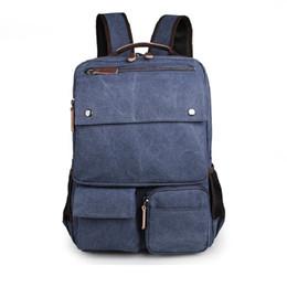 Wholesale Large Canvas Cheap - 2017 New Cheap Durable Canvas Unisex Travel Backpacks Rucksack Shoulder Bag Computer Bag 9027