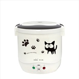 Wholesale Heated Lunch Box - 1L Portable Electric Mini Rice Cooker Lunch Box Microwave Smart Small Rice Cooker 12V 24V For Car Truck Cooker