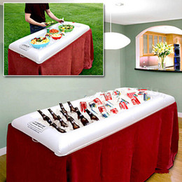 Wholesale Buffet Wholesale - Inflatable salad serving Bar Cooler Buffet Salad Food Drink Tray Ice Cooler Picnic Drink Table For Party Picnic Storage Trays