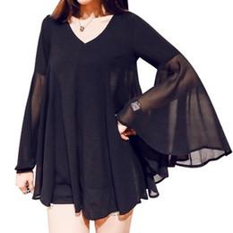 Wholesale Loose Chiffon Blouse V Neck - Women stylish Long Flare Sleeve V-neck Chiffon Blouse 2017 Summer fashion casual Black shirts loose tops plus size 3XL Clothing