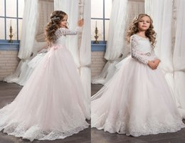 Wholesale Long Pageant Gowns Size 3t - 2017 Tutu Long Sleeves Lace Flower Girl Dress White Ivory O-Neck Floor Length Sash Custom Girls Pageant Gown Any Size