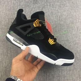 Wholesale Suede Summer Boots - 2017 New Retro 4 Royalty Suede Black Gold Men Basketball Shoes 4s Royalty Black Suede Sports Sneakers High Quality size Eur 40-47
