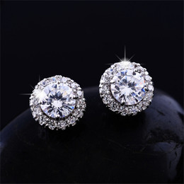 Wholesale Diamond Rhinestones - New Arrival Best Friends 18K White Gold Plated Earings Big Diamond Earrings for Women White Zircon Earrings