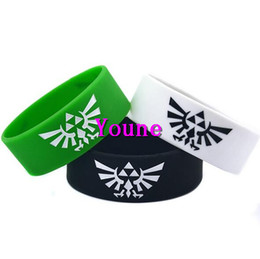 "Wholesale Silicone Bracelet Mix Color - Wholesale New Arrival 50PC Mix Color Anime The Legend Of Zelda Logo Design Silicone Wristband Bracelet 1"" Wide Adult"