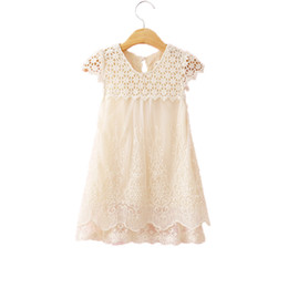 Wholesale teenage wholesale clothes - Lace Princess Birthday Baby Girls Clothes Cute Girls Knee-Length Dresses Free Shippment Summer Sleeveless Teenage Girls Dresses
