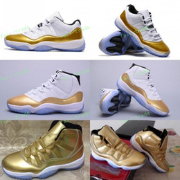 Wholesale High Top Hiking Shoes - Retro 11 White Metallic Gold Olympic Closing Ceremony Men Women Low Basketball Shoes 11s Athletics Sneakers Top High Quality Eur Size 36-47